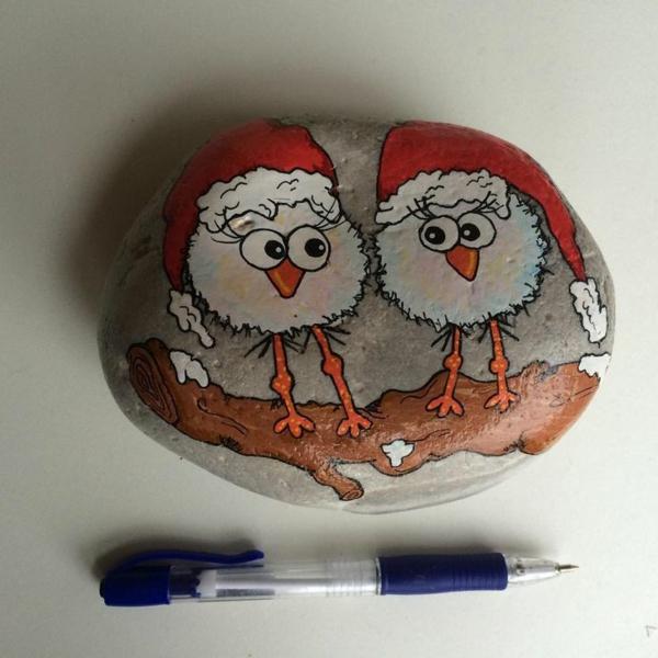 oiseaux idée diy peinture sur galets noël