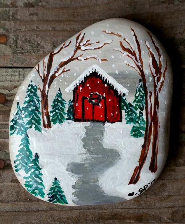 paysage hiver idée peinture sur galets noël