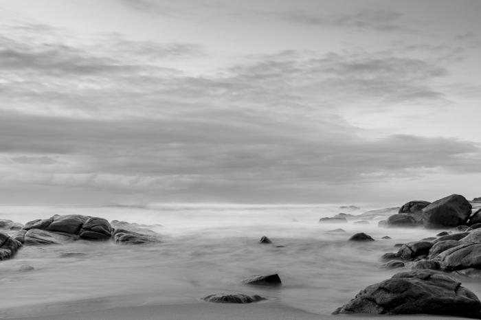 photographie noir et blanc la plage