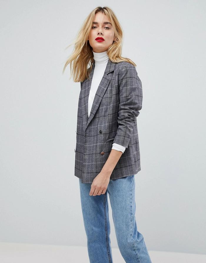 porter un jean et veste carreaux femme