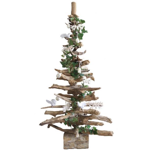 sapin de Noël en bois flotté bûche pour support