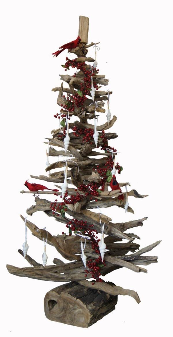 sapin de Noël en bois flotté une grosse bûche pour support