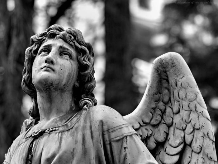 statue d'ange photographie noir et blanc
