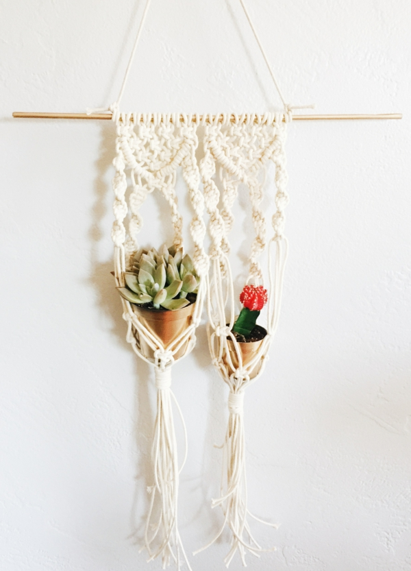 suspension macramé diy deux pots
