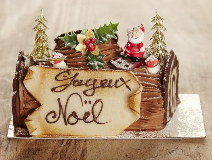 table festive idée décoration bûche de noël