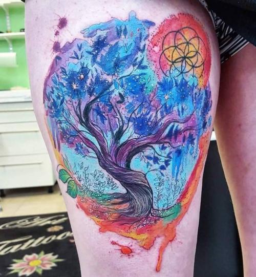 tatouage arbre de vie déco pour la jambe