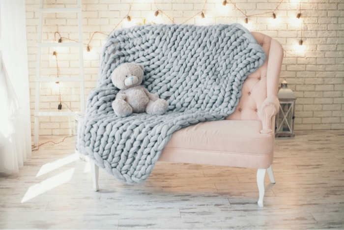 touche cosy plaid grosse maille