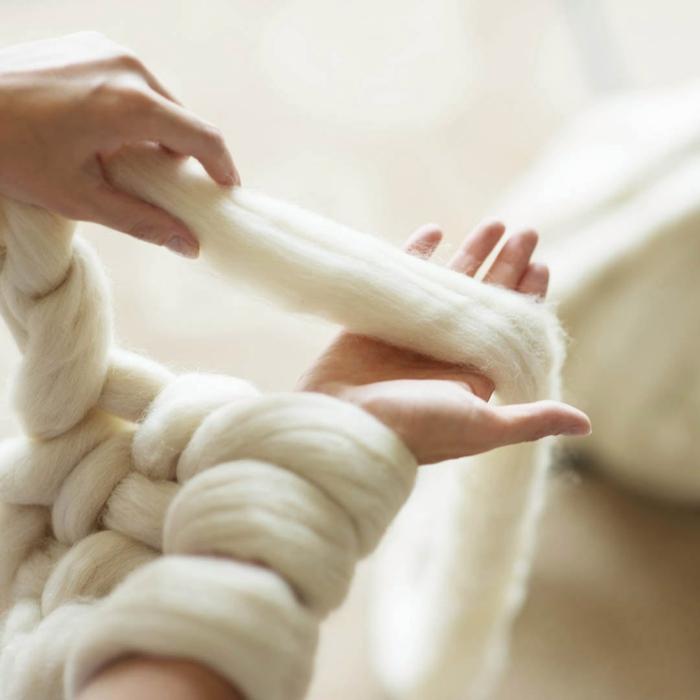 tricoter un plaid grosse maille