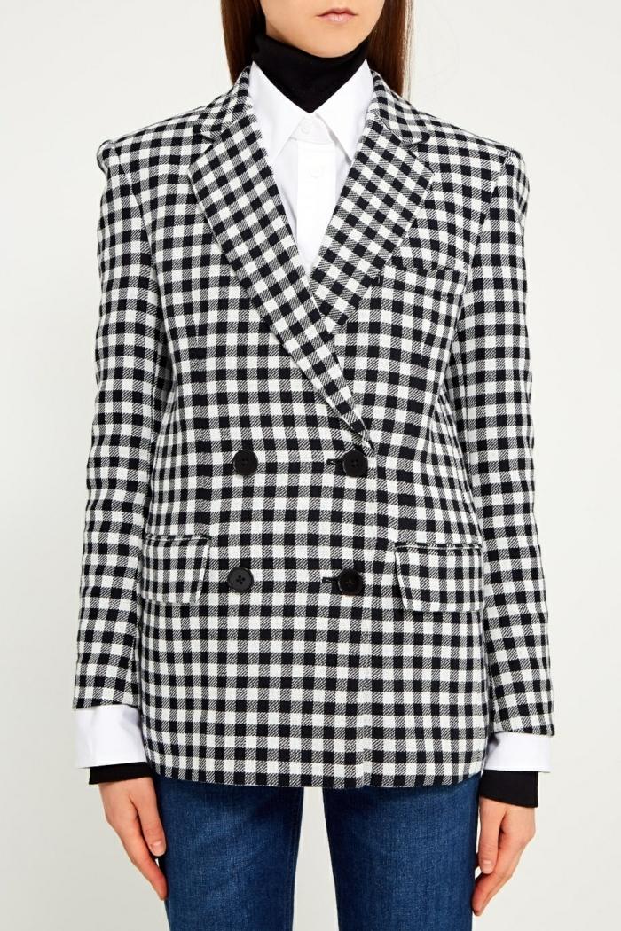 veste carreaux femme blanc et noir