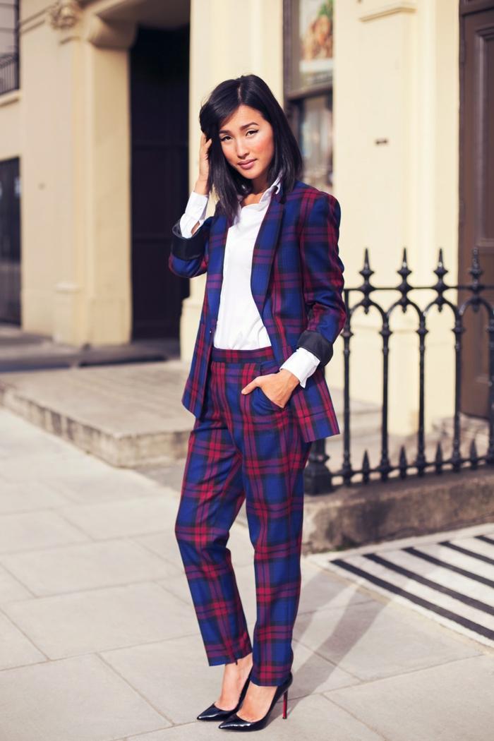 veste carreaux femme costume pour un look tendance