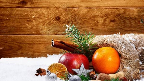 voeux de Noël beaucoup de fruits