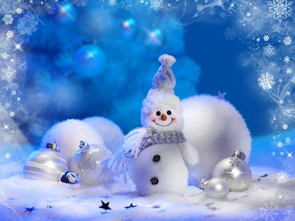 voeux de Noël bleu et blanc
