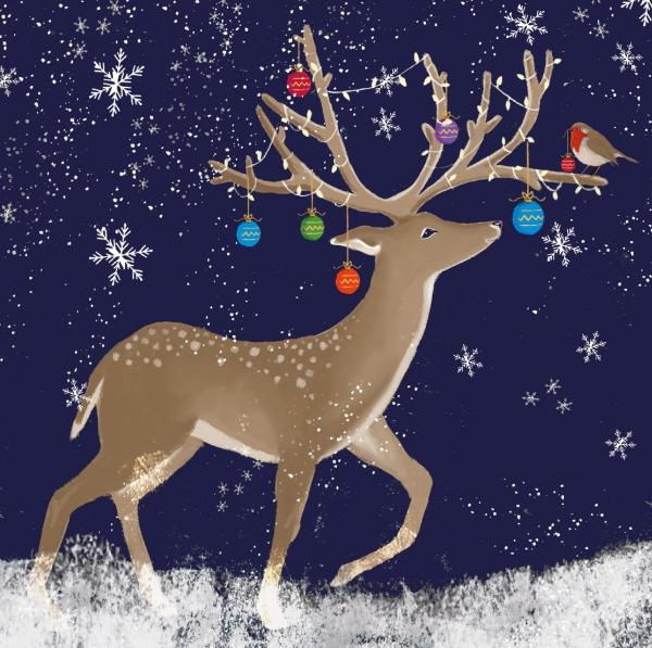 voeux de Noël cornes décorées
