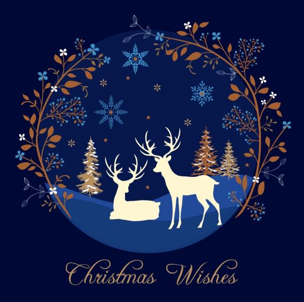voeux de Noël une nuit en forêt