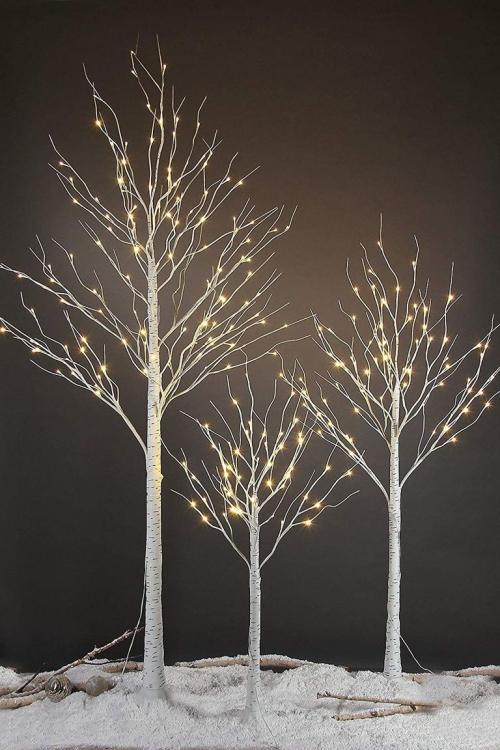 éclairage Noël extérieur bouleaux enneigés