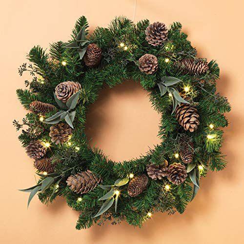éclairage Noël extérieur couronne naturelle