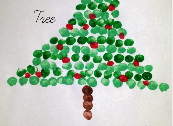 activité manuelle maternelle Noël arbre de petits doigts