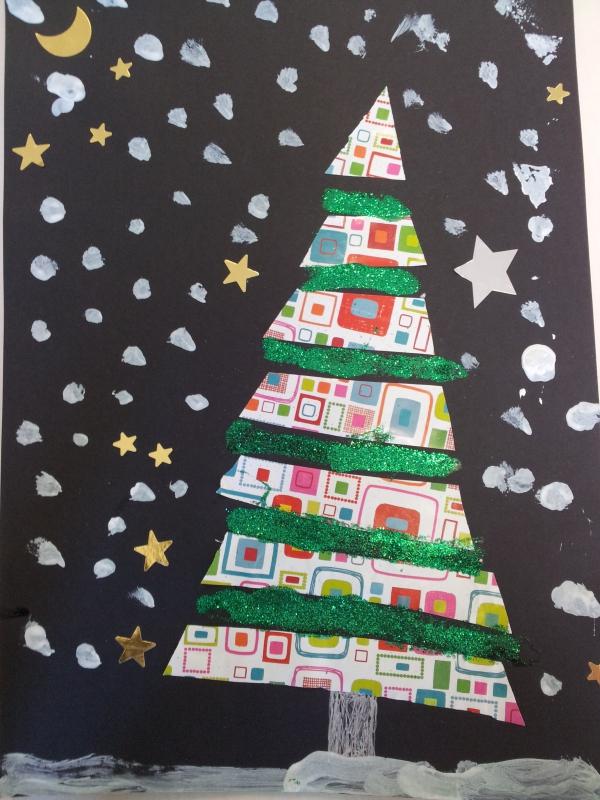 activité manuelle maternelle Noël du papier multicolore