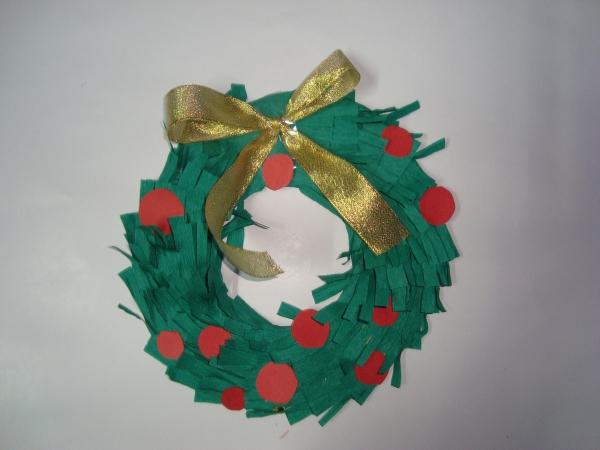 activité manuelle maternelle Noël franges vertes