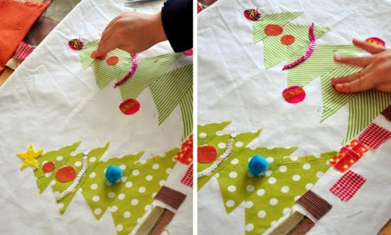 activité noël maternelle application tissu