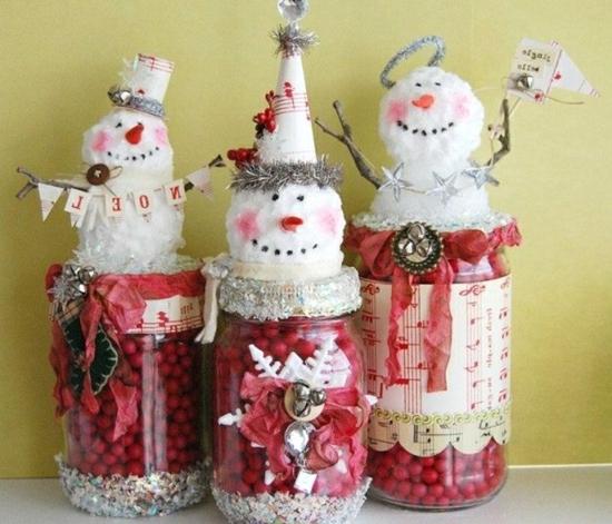 activité noël maternelle bocal en verre bonhomme de neige