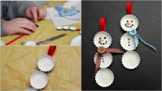 activité noël maternelle bonhomme de neige bouchon métallique bouteille