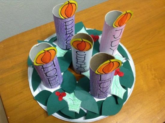activité noël maternelle chandelier rouleaux de papier toilette
