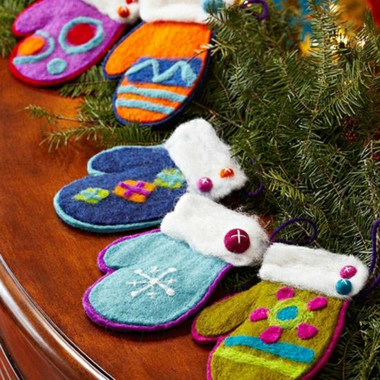 activité noël maternelle diy gants en textile
