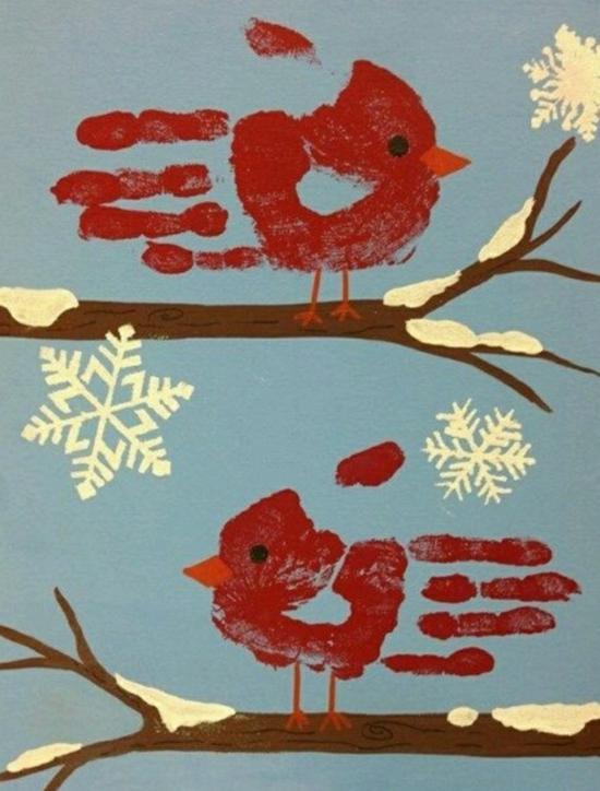activité noël maternelle peinture empreintes main