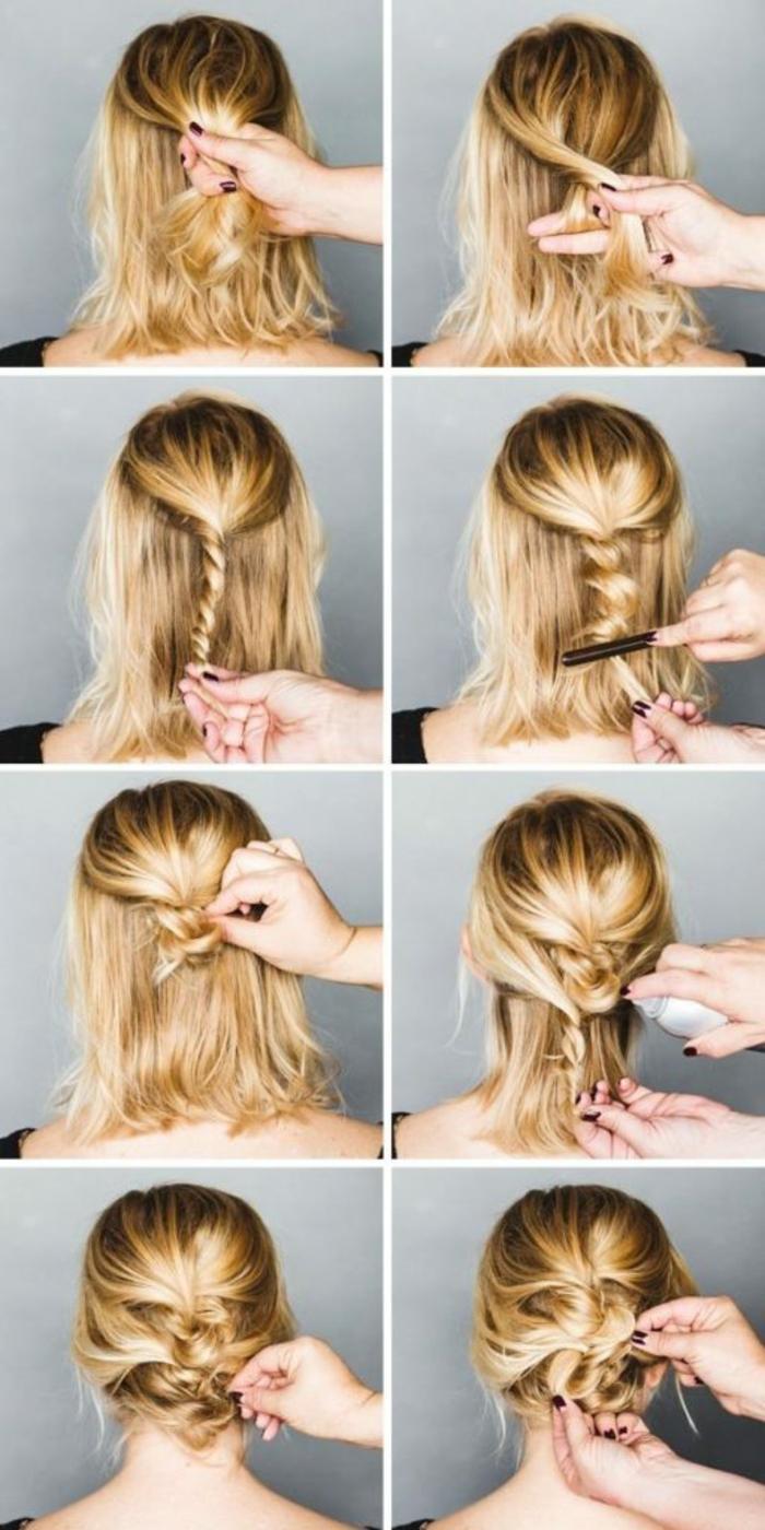belle coiffure idée chignon flou