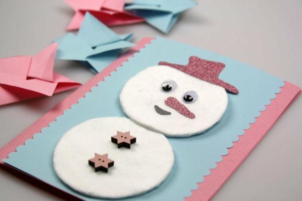 bonhomme de neige en feutrine carte noël à faire soi-même