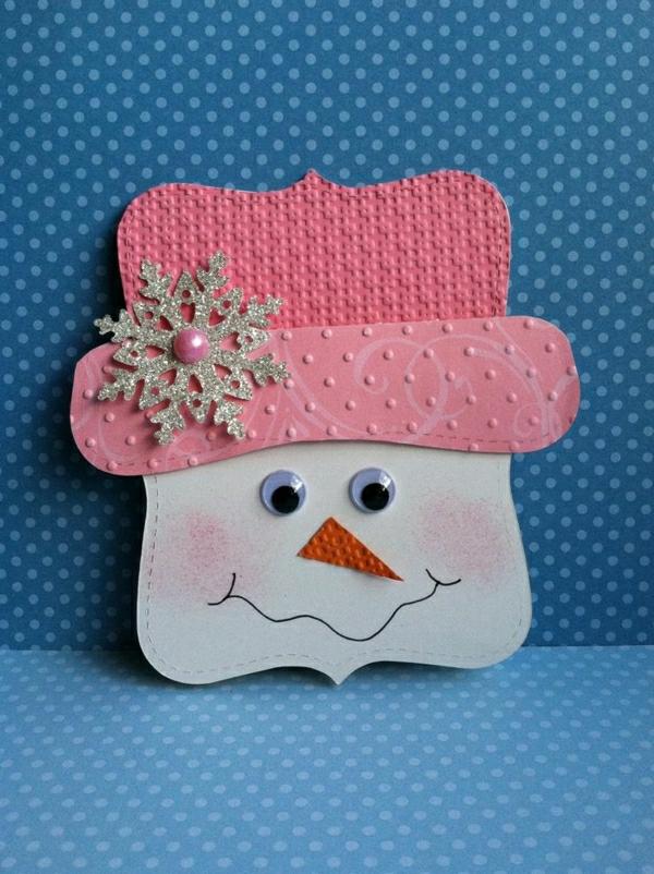 bonhomme de neige en papier carte noël à faire soi-même