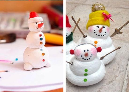 bonhomme de neige pâte à modeler activité noël maternelle