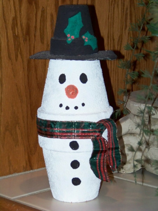 bonhomme de neige pots de plantes activité noël maternelle