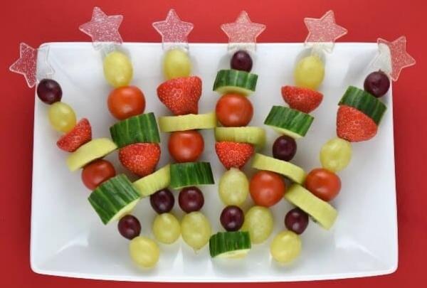 brochettes apéro Noël fruits et légumes