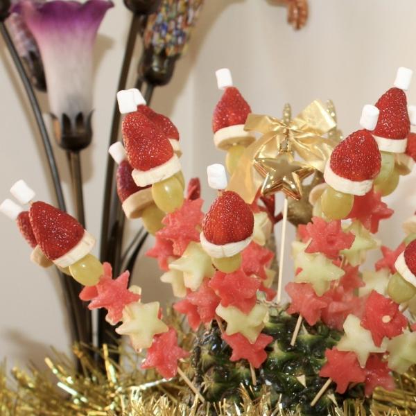 brochettes apéro Noël le privilège aux fruits