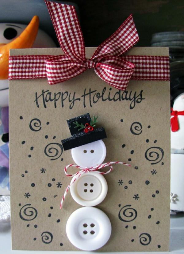 carte noël à faire soi-même bonhomme de neige en boutons