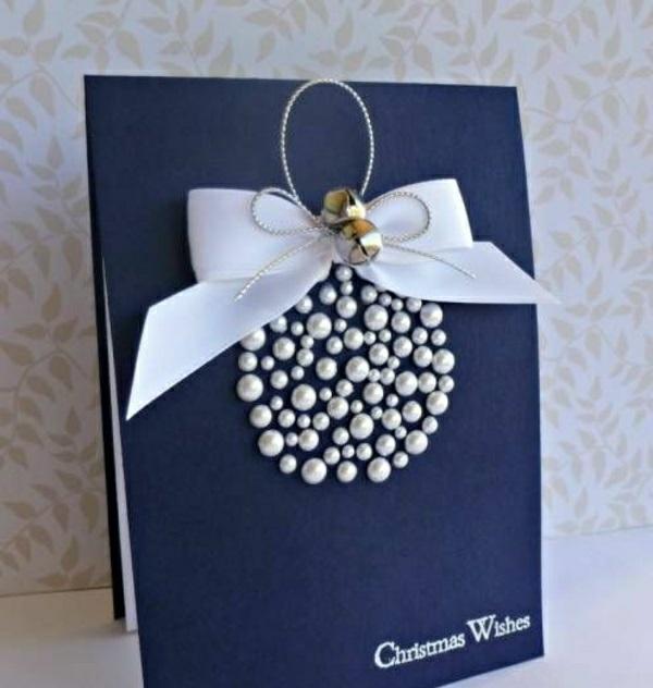carte noël à faire soi-même boule en perles