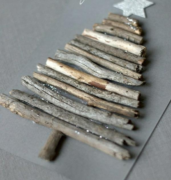 carte noël à faire soi-même déco bois naturel