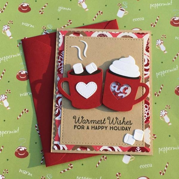carte noël à faire soi-même tasses à café