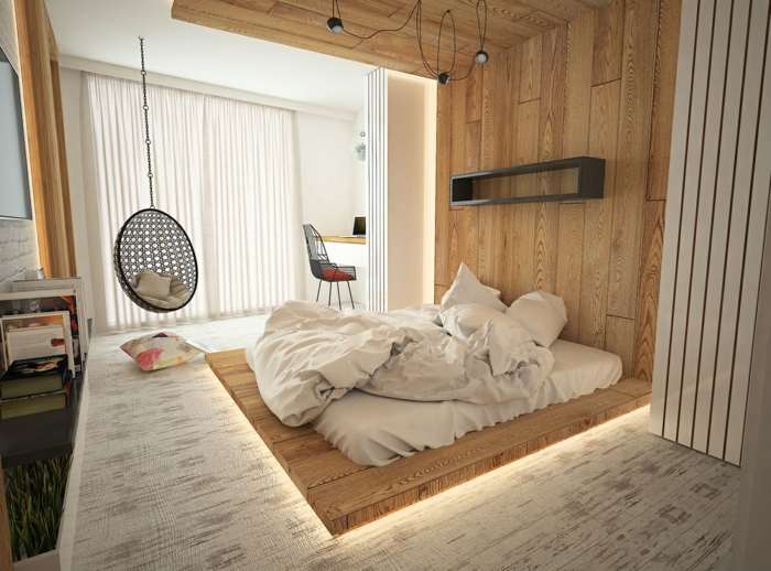 chambre tendance idée avec estrade en bois