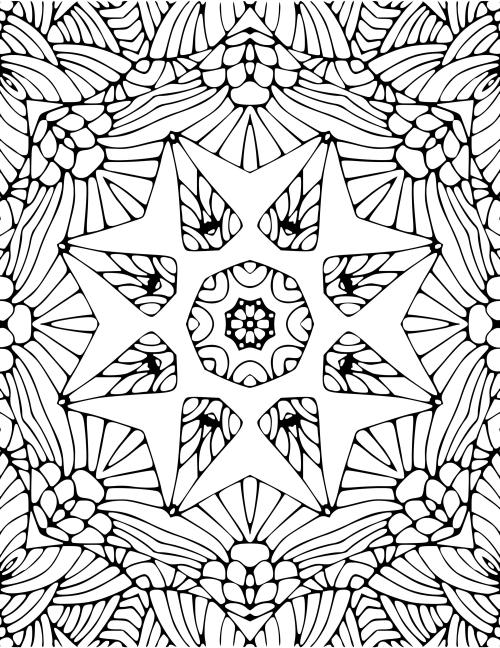 coloriage mandala Noël étoile-fleur