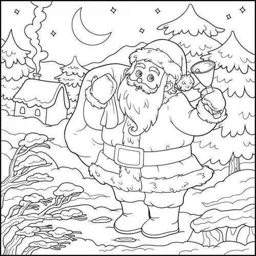 coloriage mandala Noël Père Noël en route