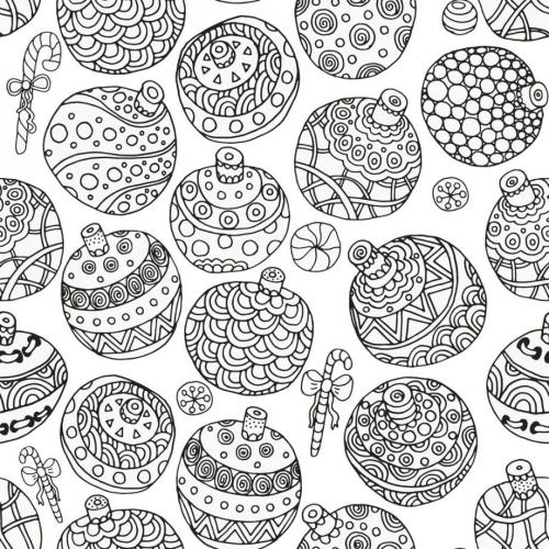coloriage mandala Noël boules à colorier