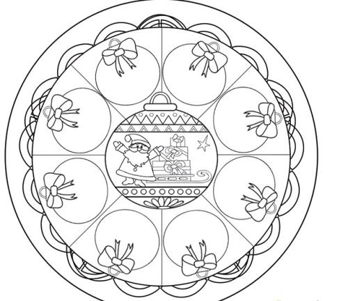 coloriage mandala Noël des boules à colorier