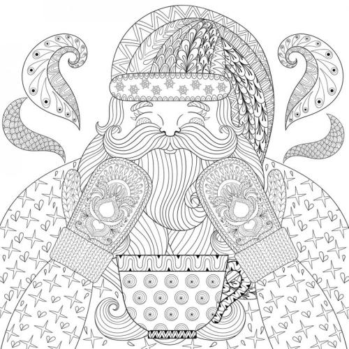 coloriage mandala Noël figure de Père Noël