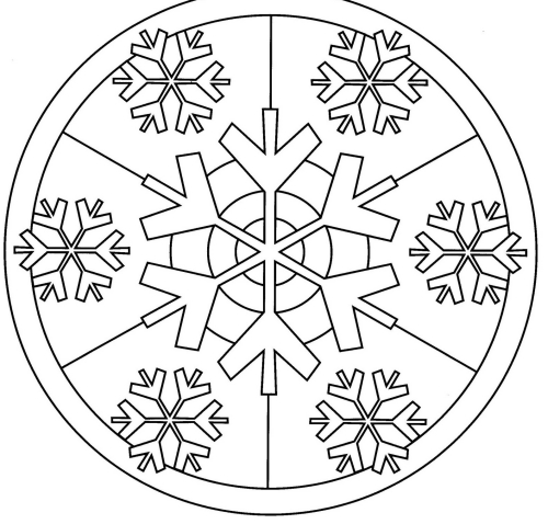 coloriage mandala Noël flocon de neige