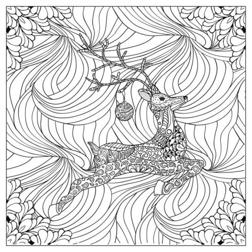 coloriage mandala Noël joli renne