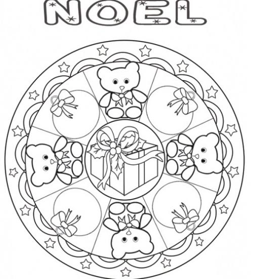 coloriage mandala Noël petits ours en rond
