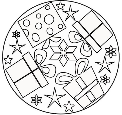 coloriage mandala Noël pour colorier les cadeaux